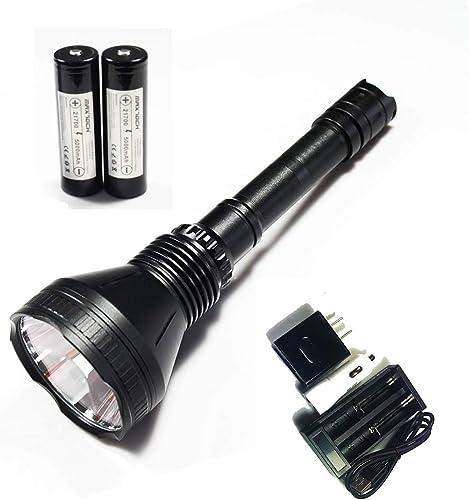 Lampe de poche MAXTOCH, X Pro, distance entre faisceaux supérieure à 1400 m, tête de 78 mm, DEL XM-L2 U4 Dedomed, batterie compatible 21700 et 18650, lampe de poche longue chasse au lanceur