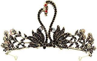 Headwear Girl Crown Princess Legjet Compleanno Black Swan Crown Corona a piedi Corona Accessori per capelli,Black