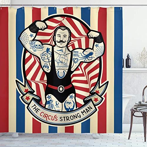 WS Circus Cortina de Ducha, nostálgico el Hombre Fuerte con Tatuajes y músculos Circo Estrella Divertida Arte impresión, Tela de baño decoración Set con Ganchos, 70 Pulgadas de Largo, Beige Rojo