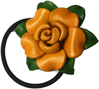 Bella Pazzo Handmade Yellow Color Genuine Leather Rose Flower Ponytail Holder and Hair Ties for Women and Girls