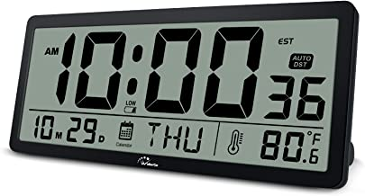 WallarGe Large Digital Wall Clock - 14 Inch Oversize Battery Operated Desk Clock with Temperature,Date and Second Display,...