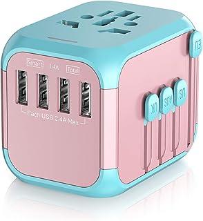 Adaptador para Enchufe Universal de Viaje, Enchufe Adaptador Compatibilidad Internacional Soporta Carga Rápida 3.4A con 4 USB para Inglaterra, Europa, EEUU, Australia Más de 150 Países