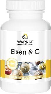 Hierro y Vitamina C – 100 cápsulas – 14mg de Hierro – Con B12 y Biotina – Con Vitamina C para una mejor absorción del hierro – 250 cápsulas