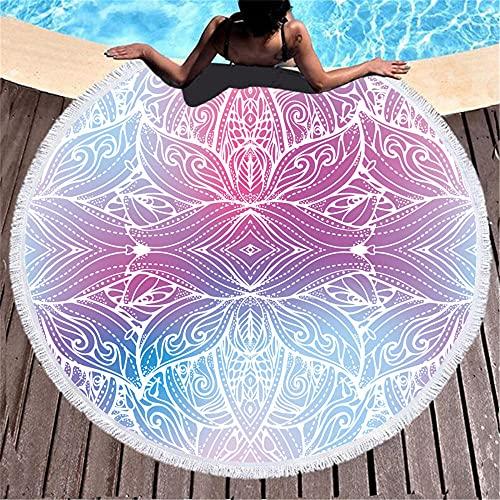 Redondo Alrededor de 150x150cm Color Abstracto patrón Floral HD impresión Agua Absorbente Suave Tira Ship Toalla de baño de Playa-C5 Seque Rápidamente, Prevención de Arena para Viaje, Picnic