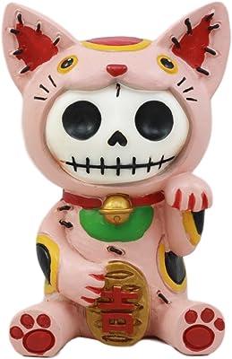 Ebros Furry Bones Pink Maneki Neko Skeleton Figurine Lucky Cat Kitten Hooded Skull Monster Collectible Sculpture Decorative Toy