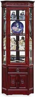 China Furniture Online Rosewood Corner Cabinet, 20 Inches Longevity Design Display China Cabinet Dark Cherry Finish
