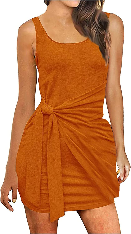 TopLAD Dresses for Women Women's Sexy Bandage Ribbed Tank Dress Slim Fit Sleeveless Mini Dresses Orange