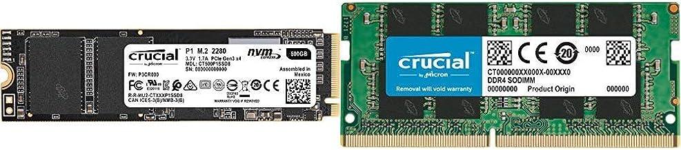Crucial P1 CT500P1SSD8 - Disco Duro sólido Interno SSD de 500 GB (3D NAND, NVMe, PCIe, M.2) + CT8G4SFS824A Memoria RAM de 8 GB (DDR4, 2400 MT/s, PC4-19200, Single Rank x 8, SODIMM, 260-Pin)
