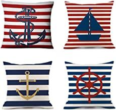 Emvency Set of 4 Pillow Covers Decorative Cushion 18 x 18 Geography Theme Nautical Sailing Compass Boat Cover Navy Blue Red Anchor with Stripe Cotton Linen Home for Couch Bed