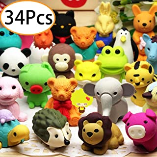 34Pcs Animal Erasers Bulk Mini Pencil Erasers Anime Cute Non-Toxic Removable Assembly Puzzle Kids Erasers for Party Favors,ClassroomStudents Prizes,Carnival Gifts and School Supplies Gift