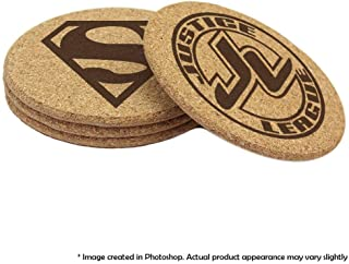 Justice League Cork Double-sided Coaster Set of 4, 6, or 8 (Batman, Superman, Wonder Woman, The Flash, Green Lantern, Martian Manhunter, Hawkgirl, Aquaman, Cyborg)