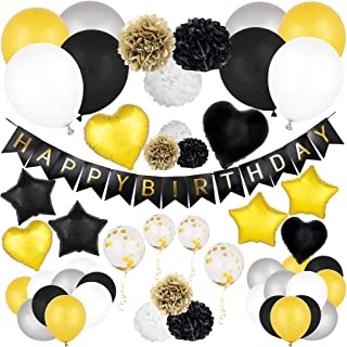 Birthday Decorations   Happy Birthday Banner Pack   Party Supplies Kit with Happy Birthday Balloons, Birthday Banner, Foil Balloons & Pom Poms   Black and Gold Party Decorations Set for Men and Women