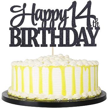 Awesome Amazon Com Palasasa Black Glitter Happy 14Th Birthday Cake Topper Personalised Birthday Cards Akebfashionlily Jamesorg