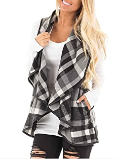 Womens Lapel Open Front Sleeveless Plaid Vest Cardigan with Pockets S-XXL