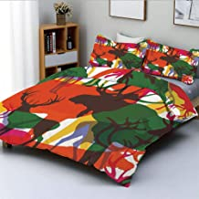 Duplex Print Duvet Cover Set Queen Size,Deer Moose and Mountain Sheep Horned Animals Abstract IllustrationDecorative 3 Piece Bedding Set with 2 Pillow Sham,Best Gift for Kids & Adult