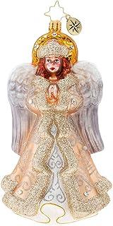 Christopher Radko Hand-Crafted European Glass Christmas Decorative Figural Ornament, Golden Glory Angel