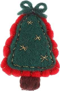 Amosfun Christmas Tree Hair Clip Xmas Tree Hair Pin Barrette Wool Children Head Clip Kids Christmas Hair Accessories