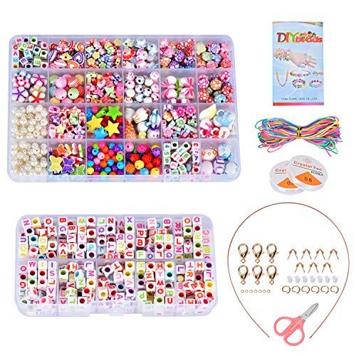 Queta DIY Perlen Kreative Hobby Kinder Halskette Perlen Kit Bildungs- und Wissenschaftsspiele Fancy Bracelet Puzzle Kreative Handgemachte Perlen 24 Grid