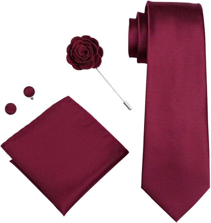 JIEIIFAFH Red Soild Men's Tie Brooch Hanky Cufflinks Set 100% Silk Neckties Compatible with Male Wedding Party Business