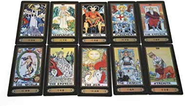 Qioni 78 Cards Rider, Deck Vintage Tarot Cards Waite Future Telling Card Game with Colorful Box for Party Travel, Mini, Portable and Easy for Taking Away