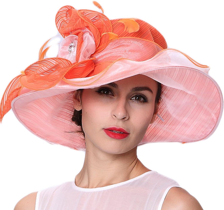 June's Young Women Hats Floral Pattern Large Brim Lady Hat