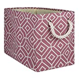 DII CAMZ10014  Collapsible Polyester Storage Basket or Bin with Durable Cotton Handles, Home Organizer Solution for Office, Bedroom Closet, Toys, Laundry, Rectangle, Rose