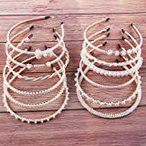 12 Pcs Pearl Headbands White Imitation Pearls Bead Hair Band Trendy Hairbands Bow Hair Hoops Wedding Bridal Party Daily Accessories for Women and Girls