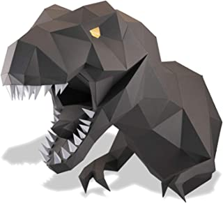Paperraz Dinosaur Dino trophy head complete paper craft kit DIY 3D building puzzle adults low poly paper animal building kit
