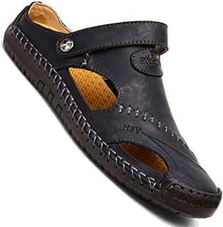 KINOW Mens Casual Closed Toe Leather Sandals Outdoor Sports Beach Slippers Flat Shoes