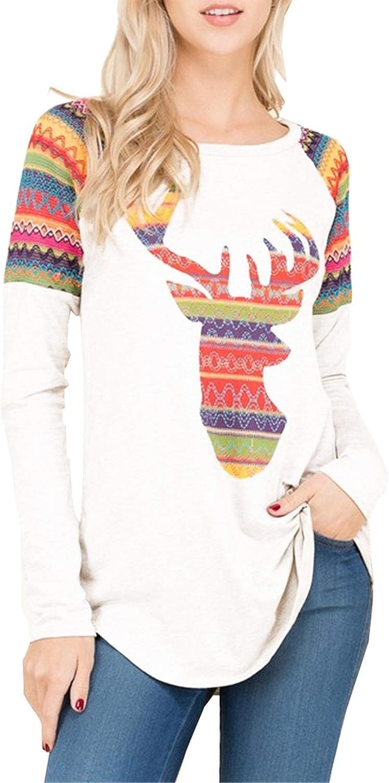 Chunoy Women Christmas Reindeer Floral Print Long Sleeve color Block T Shirt Top