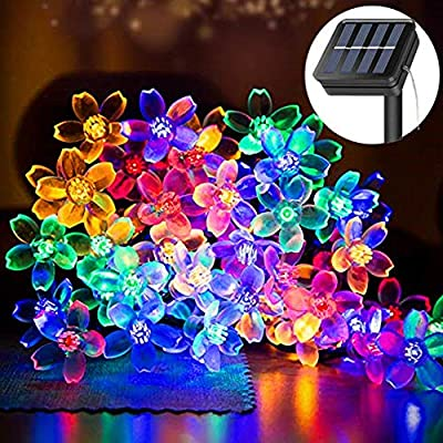 Solar Strings Lights Garden, 8 Lighting Modes 50 LED Solar Flower Fairy Lights Waterproof Outdoor String Lights for Garden, Home, Lawn, Wedding, Patio, Party and Holiday Decorations- Multi Color