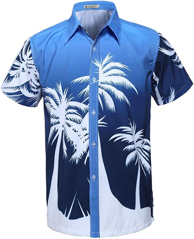 Mens Short Sleeve Button Down Colorful Hawaiian Palm Tree Tropical Shirt Standard Fit Lightweight Soft and Breathable