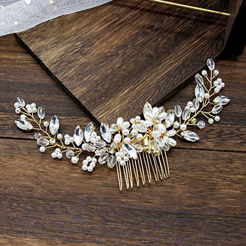 Milisente Kristall Haarschmuck hochzeit, braut blumen Haarklammer, hochzeitskamm für Frauen Braut Brautjungfern (Gold)