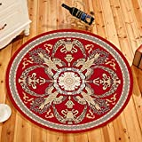 MOXIC Traditional Round Area Rugs Soft Living Room Bedroom Children Kids Crawling Rug Bathroom Mats Anti-Slip Persian Heriz Carpet Vintage Home Decorate Collection Circular Nursery Runners 2' X 2'
