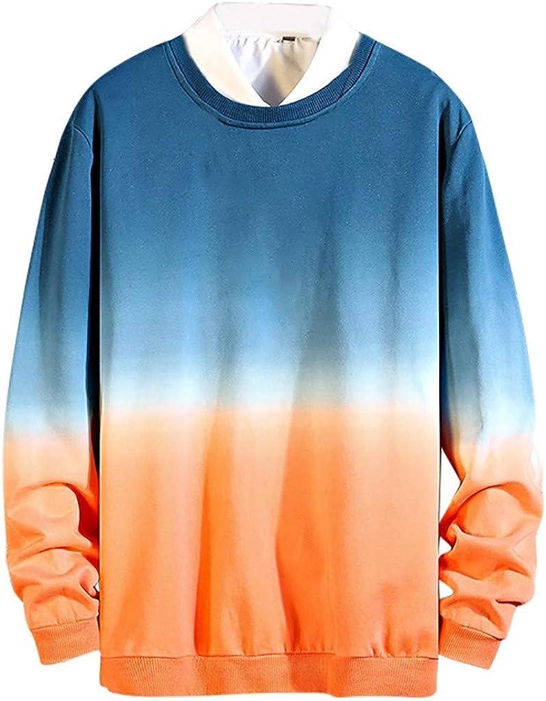ZODOF Sudaderas Hombre Moda Collar Gradualmente De Colores Manga Larga Guardia Blusa Camiseta Hoodie Sweatshirt Abrigos Pullover Tops