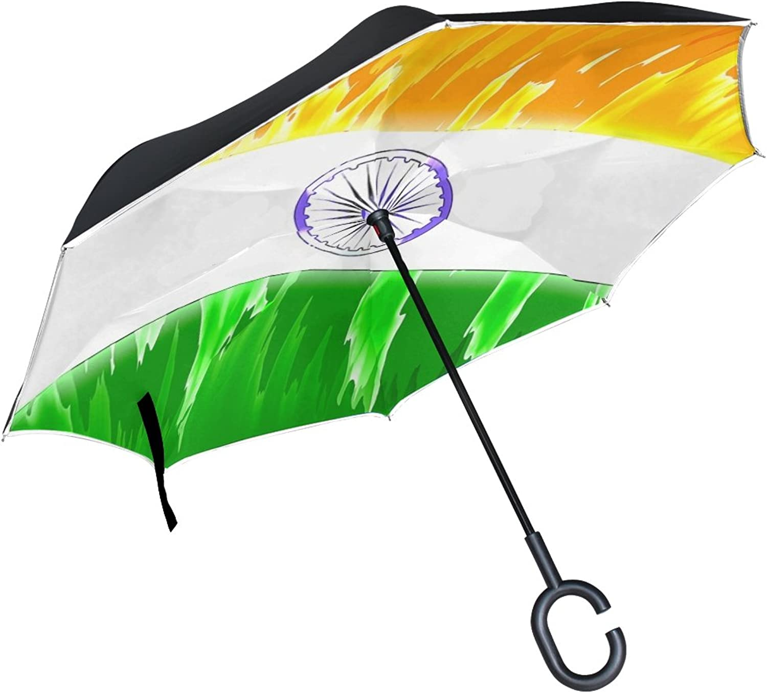 Double Layer Ingreened India National Flag Flag National Colours National Umbrellas Reverse Folding Umbrella Windproof Uv Predection Big Straight Umbrella for Car Rain Outdoor with CShaped Handle