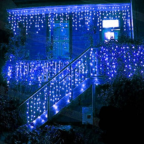 LED Lichtervorhang, LED Lichterkette, 216 LED 5M Eisregen/Eiszapfen Lichterkette, LED String Licht, Lichterkettenvorhang, Weihnachtsbeleuchtung, Weihnachtsdeko Christmas INNEN und AUSSEN, Blau