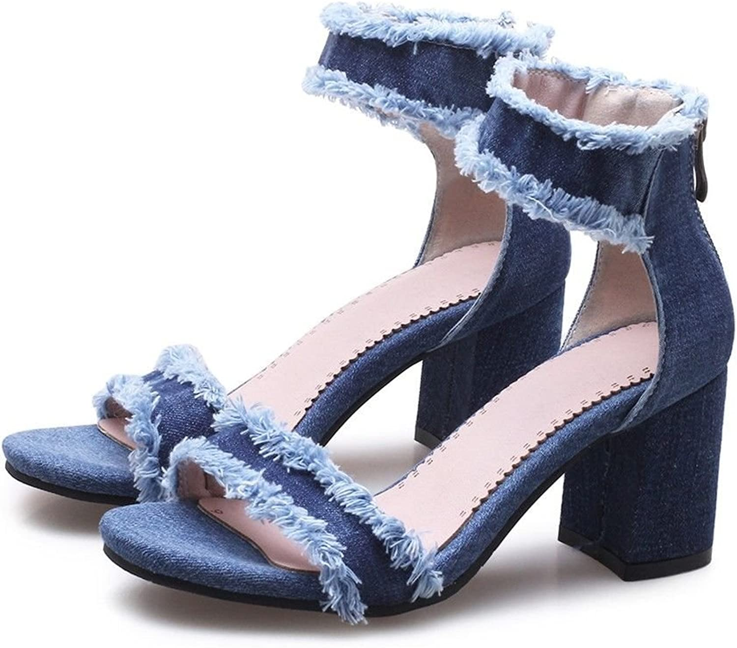 The Word Denim Ankle Straps Thick with high-Heeled, and Versatile Sandals
