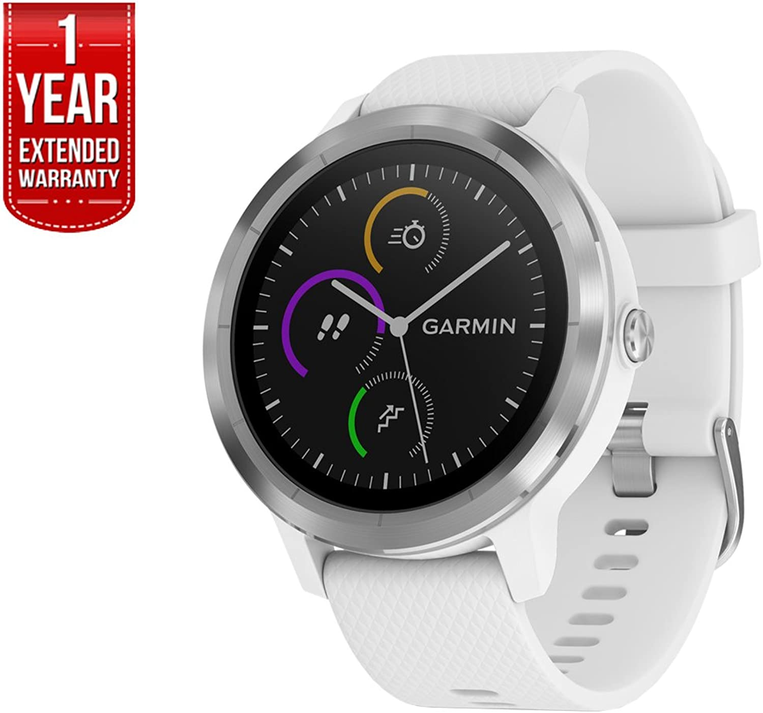 Garmin 0100176921 Vivoactive 3 GPS Fitness Smartwatch (White & Stainless) + 1 Year Extended Warranty