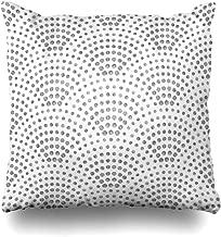 Ahawoso Throw Pillow Cover Square 20x20 Antique Abstract Wavy Pattern Geometrical Fish Arch Batik Black Fan Burst Ceramic Monochrome Design Decorative Pillowcase Home Decor Zippered Cushion Case