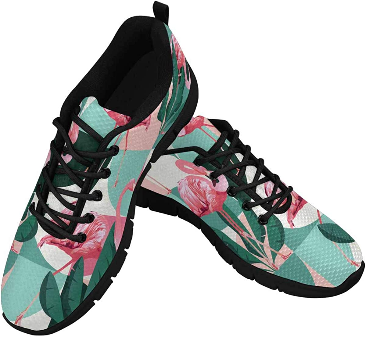 INTERESTPRINT Exotic Banana Leaves and Pink Flamingos Women's Athletic Mesh Breathable Casual Sneaker