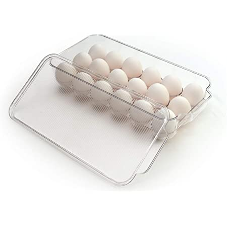 Totally Kitchen Plastic Egg Holder | BPA Free Fridge Organizer with Lid & Handles | Refrigerator Storage Container | 18 Egg Tray, Clear