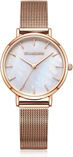 STARKING Women's Minimalist Ultra Thin Rose Gold Watch Analog Japanese Quartz Stainless Steel Mesh Watch …