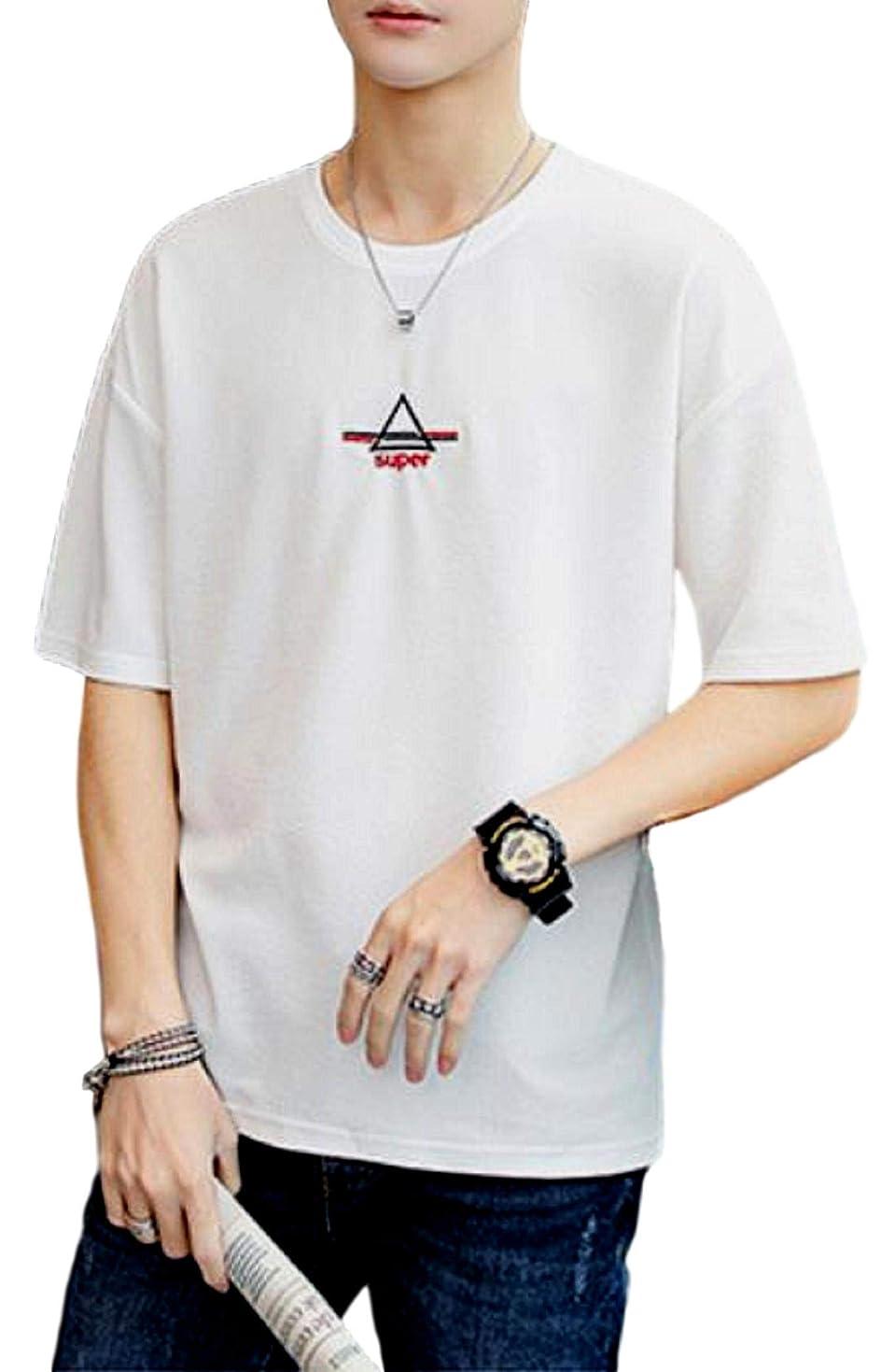 変換するスタイル歩く[アルトコロニー] ワンポイント カットソー ロゴ ティーシャツ スポーツ 半そで ユッタリ カジュアル 綿 M ~ XL メンズ