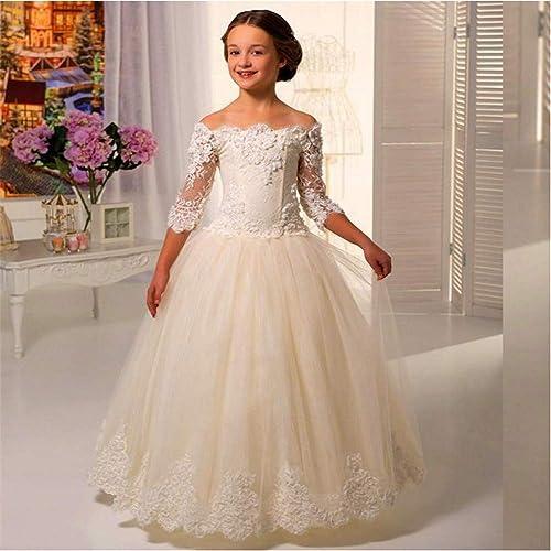 Chlyuan Robes De Mariage Fleur Fille Jupe Mot Epaule Manches en Dentelle Jupe Fluffy Filles Robe De Jupe (Taille   10-11T)