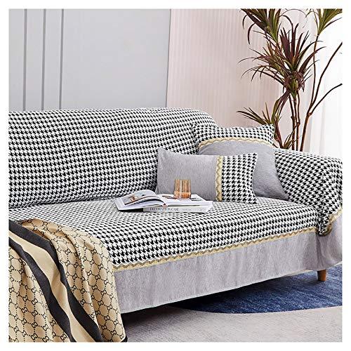 Sofaüberzug Sofa Abdeckung Sofahusse Couchhusse mit Armlehne für Wohnzimmer Anti-Rutsch Hahnentritt-Sofabezug Verschleißfest und langlebig(grau)-Grau 190x180cm