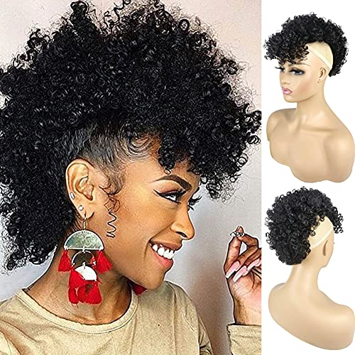 Afro Puff Drawstring Mohawk Ponytail Wig with Bangs for Black Women Synthetic Short Kinky Curly Bun With Bangs Non Drawstring Ponytail Extension Hairpieces with 4 Clips(1B Black)