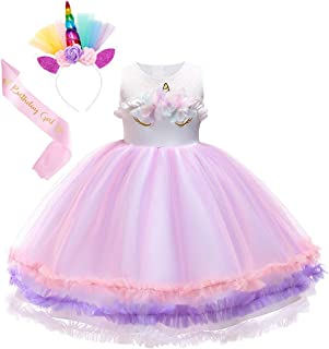 WonderBabe Mermaid Tutu for Girls Fancy Party Halloween Princess Dress Up Role Play Mermaid Birthday Outfit with Headband