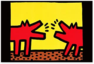 Funny Ugly Christmas Sweater Red Dogs Pop Art Keith Haring Poster Prints Barking Dogs Street Art Made in USA Office Decor Ideas Colorful Wall Decals for Kitchen 8