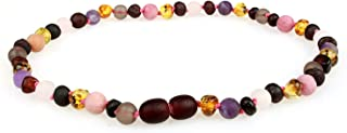 Baltic Amber Teething Necklace (Unisex, 12.5 Inches) with Semi-Precious Gemstones - Matte Smoky Quartz, Rhodonite, Matte Rose Quartz, Matte Amethyst. Lab-Tested, 100% Certified - Teething Pain Relief